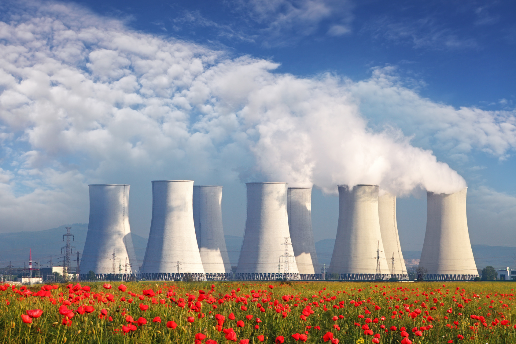 Nuclear power plant with a red field