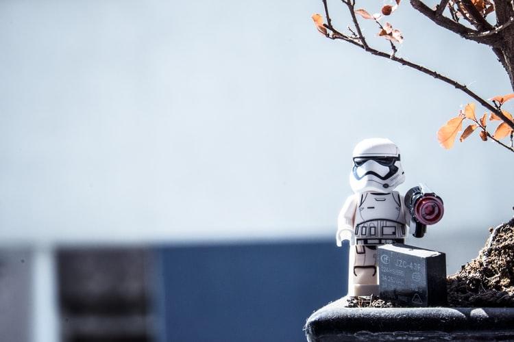 mini stormtrooper on planter
